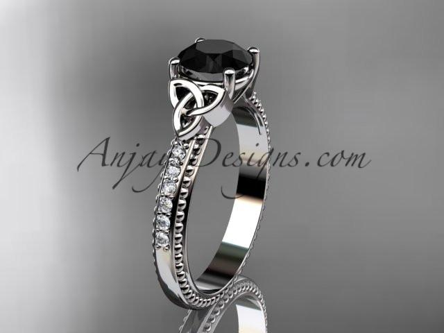 platinum diamond celtic trinity knot wedding ring, engagement ring with a Black Diamond center stone CT7391 - AnjaysDesigns