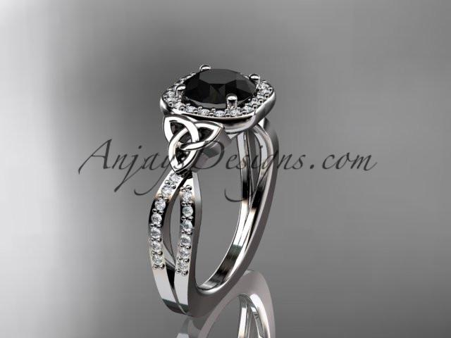 platinum diamond celtic trinity knot wedding ring, engagement ring with a Black Diamond center stone CT7393 - AnjaysDesigns