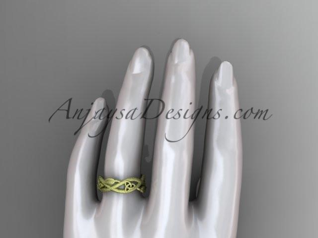 14kt yellow gold celtic trinity knot wedding band, matte finish wedding band, triquetra ring, engagement ring CT7403G - AnjaysDesigns