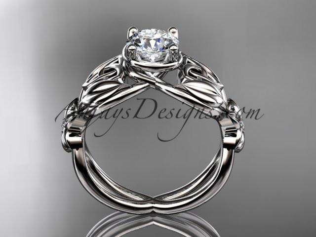 "14kt white gold diamond celtic trinity knot wedding ring, engagement ring with a ""Forever One"" Moissanite center stone CT7501 - AnjaysDesigns"