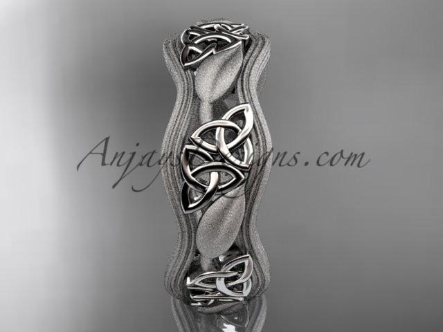 platinum celtic trinity knot wedding band, engagement ring CT7504GM - AnjaysDesigns