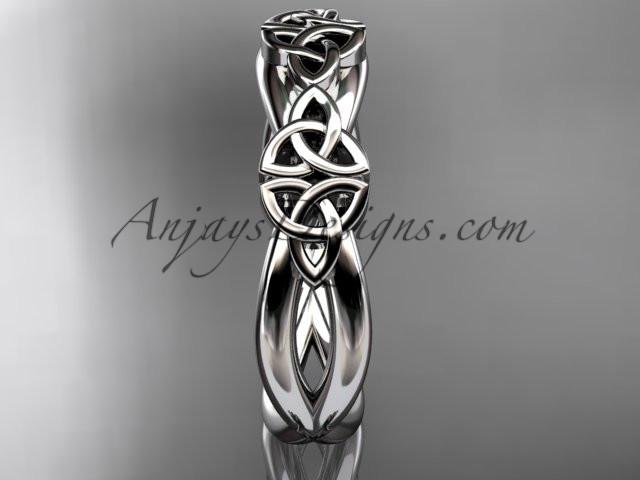 platinum celtic trinity knot wedding band, engagement ring CT7505G - AnjaysDesigns