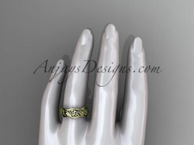 14kt yellow gold celtic trinity knot wedding band, engagement ring CT7506G - AnjaysDesigns