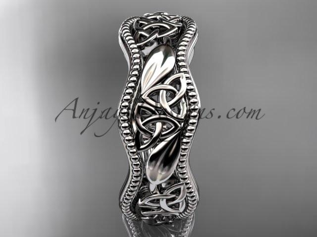 14kt white gold celtic trinity knot wedding band, engagement ring CT7508G - AnjaysDesigns
