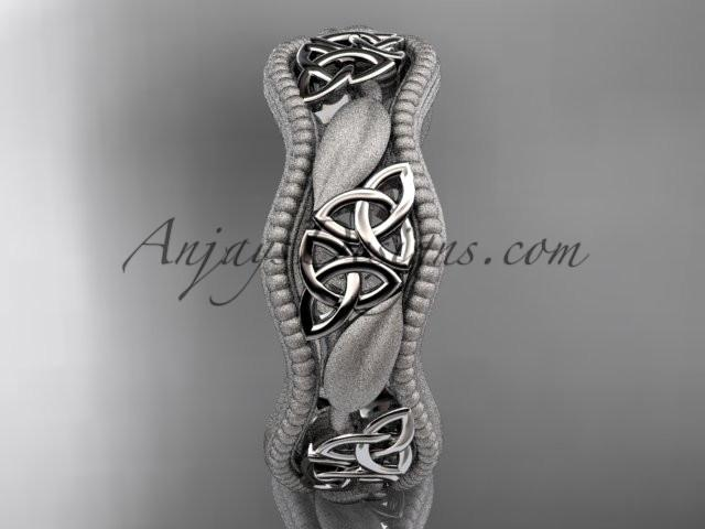 platinum celtic trinity knot wedding band, engagement ring CT7508GM - AnjaysDesigns