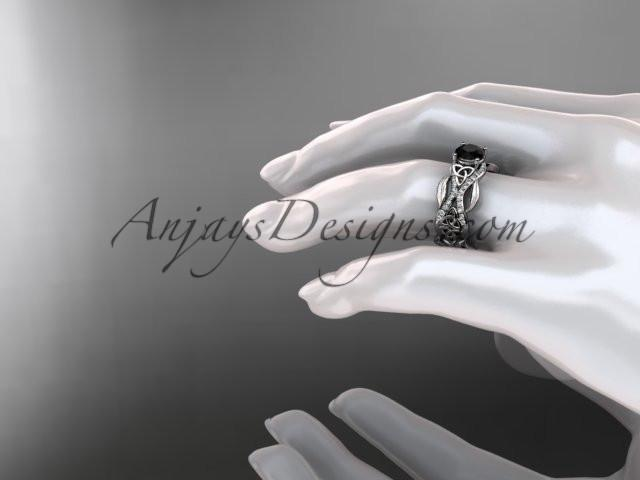 14kt white gold diamond celtic trinity knot wedding ring, engagement ring with a Black Diamond center stone CT7515 - AnjaysDesigns