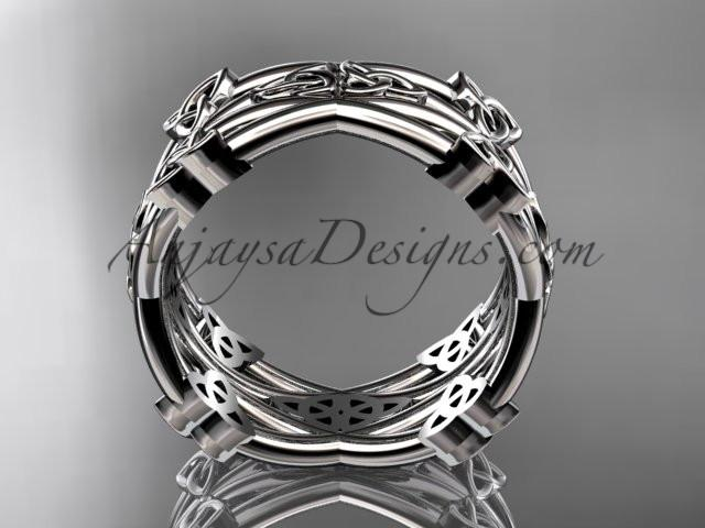 14kt white gold celtic trinity knot wedding band, engagement ring CT7517G - AnjaysDesigns