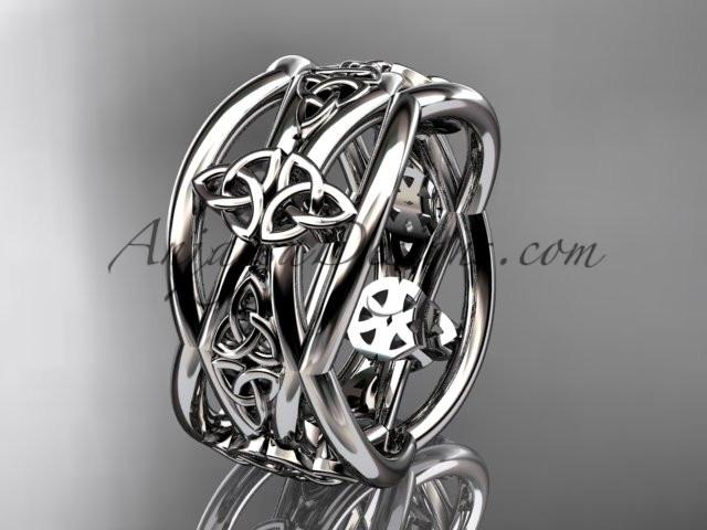 platinum celtic trinity knot wedding band, engagement ring CT7519G - AnjaysDesigns