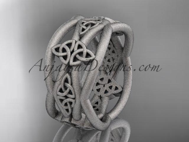 platinum celtic trinity knot wedding band, matte finish wedding band, engagement ring CT7519G - AnjaysDesigns