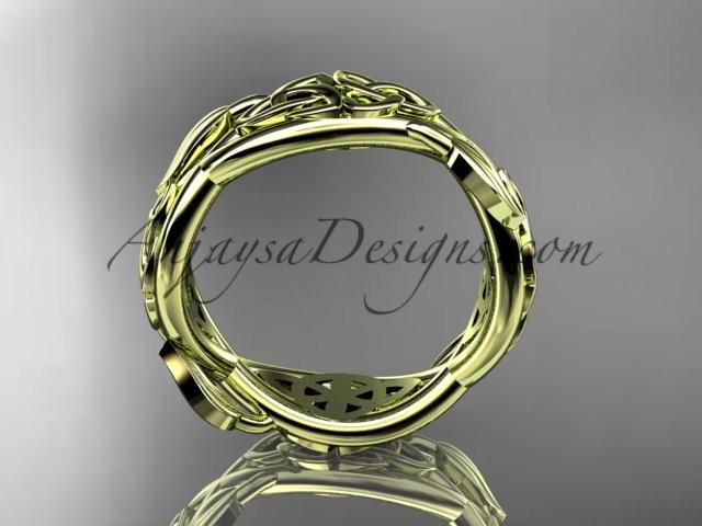 14kt yellow gold celtic trinity knot wedding band, triquetra ring, engagement ring CT7520G - AnjaysDesigns