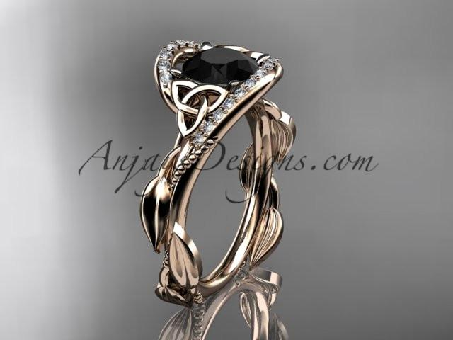 14kt rose gold celtic trinity knot engagement ring , wedding ring with Black Diamond center stone CT764 - AnjaysDesigns