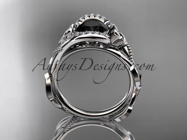 14kt white gold celtic trinity knot engagement ring , wedding ring with Black Diamond center stone CT764 - AnjaysDesigns