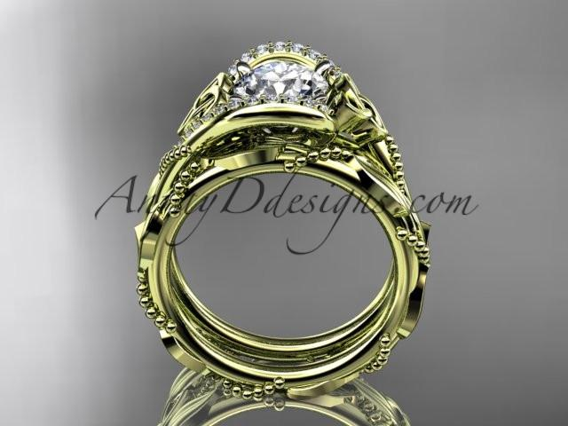 "14kt yellow gold celtic trinity knot engagement set, wedding ring with ""Forever One"" Moissanite center stone CT764S - AnjaysDesigns"