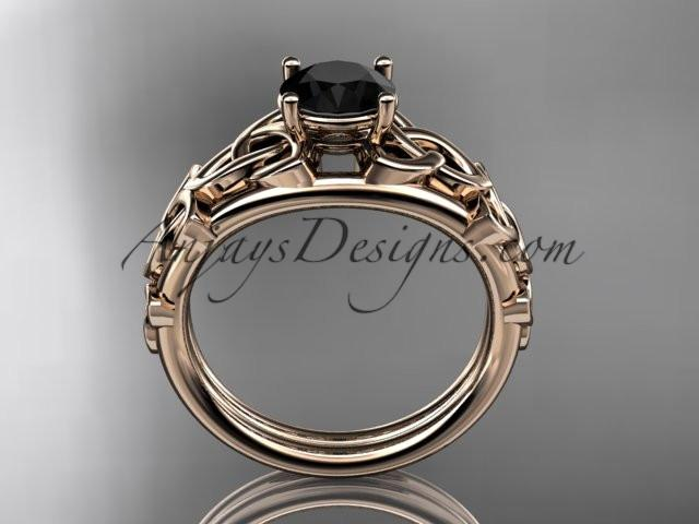 14kt rose gold celtic trinity knot engagement ring , wedding ring with a Black Diamond center stone CT765 - AnjaysDesigns