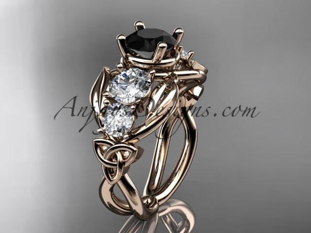 14kt rose gold celtic trinity knot engagement ring , wedding ring with Black Diamond center stone CT769 - AnjaysDesigns