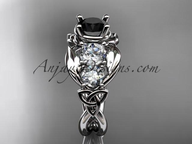 14kt white gold celtic trinity knot engagement ring , wedding ring with Black Diamond center stone CT769 - AnjaysDesigns