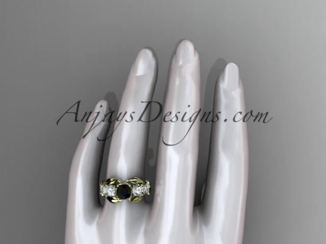 14kt yellow gold celtic trinity knot engagement ring , wedding ring with Black Diamond center stone CT769 - AnjaysDesigns