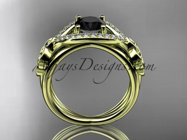 14kt yellow gold celtic trinity knot engagement ring ,diamond wedding ring with Black Diamond center stone CT785 - AnjaysDesigns