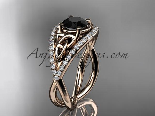 14kt rose gold celtic trinity knot engagement ring ,diamond wedding ring with Black Diamond center stone CT788 - AnjaysDesigns