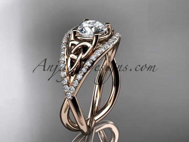 14kt rose gold celtic trinity knot engagement ring ,diamond wedding ring CT788 - AnjaysDesigns