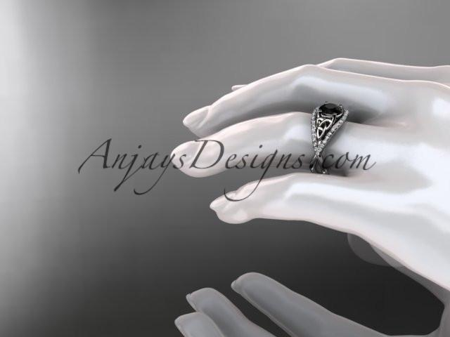 platinum celtic trinity knot engagement ring ,diamond wedding ring with Black Diamond center stone CT788 - AnjaysDesigns