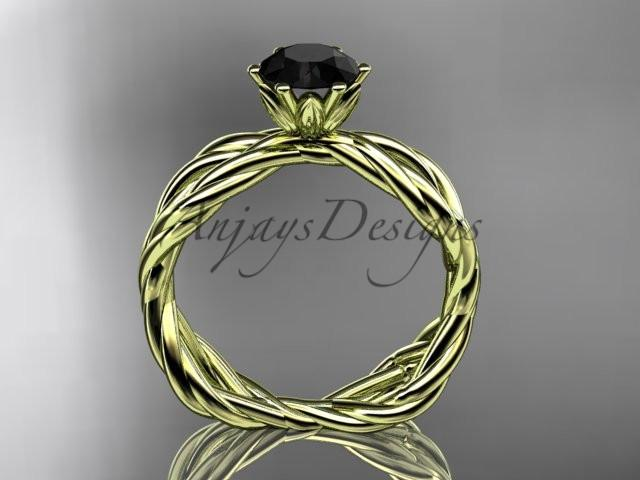 14kt yellow gold Black Diamond rope engagement ring RP8100
