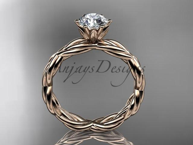 "14kt rose gold rope engagement ring with a ""Forever One"" Moissanite center stone RP8101"