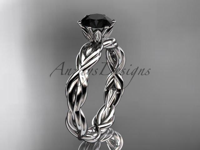 14kt white gold rope engagement ring with a Black Diamond center stone RP8101