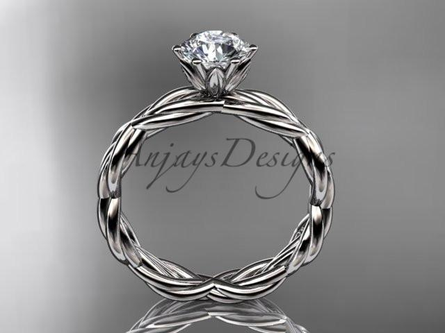 14kt white gold twisted rope engagement ring RP8101