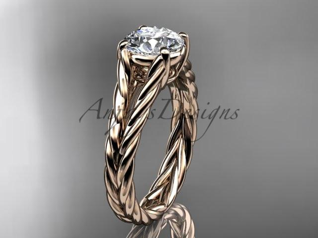 14kt rose gold twisted rope wedding ring RP8108