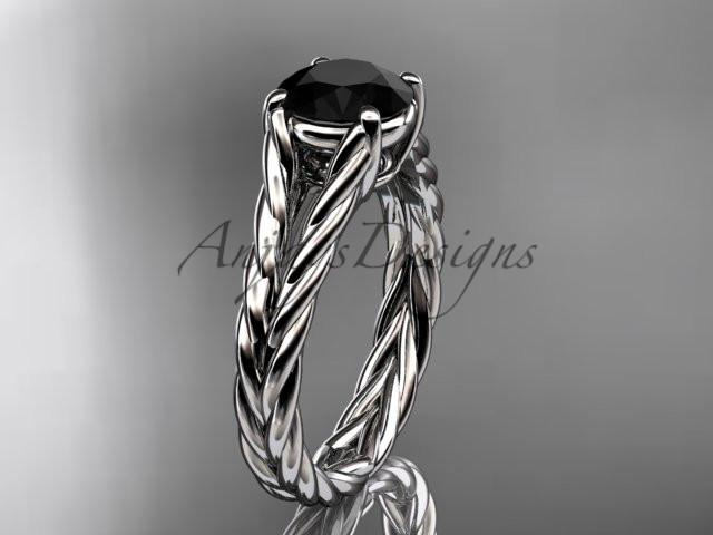 14kt white gold twisted rope engagement ring with a Black Diamond center stone RP8108