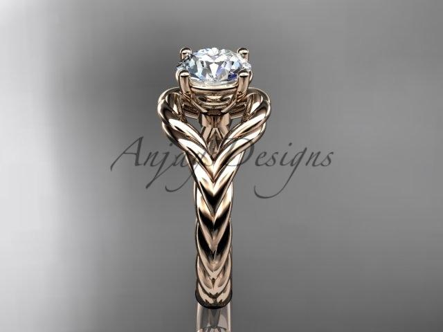 "14k rose gold ""Forever One"" Moissanite twisted rope engagement ring RP8125"