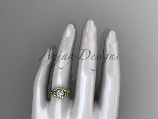 "14k yellow gold ""Forever One"" Moissanite twisted rope engagement ring RP8125"