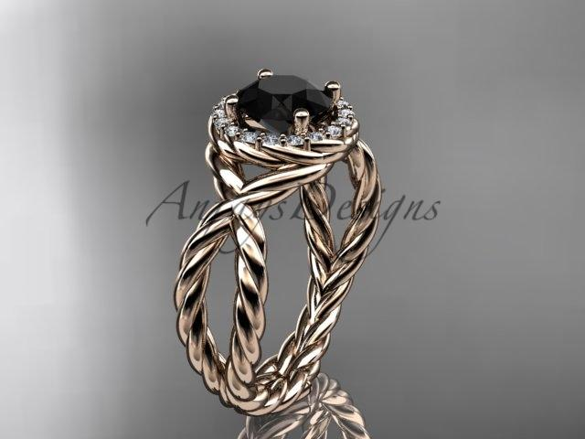 14kt rose gold rope halo diamond engagement ring with a Black Diamond center stone RP8127