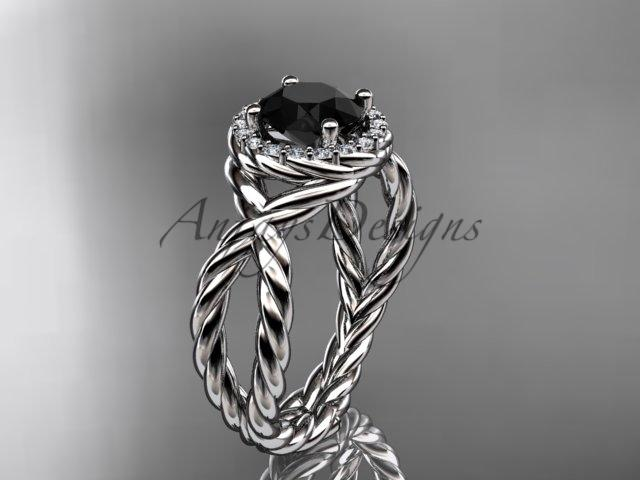 14kt white gold rope halo diamond engagement ring with a Black Diamond center stone RP8127