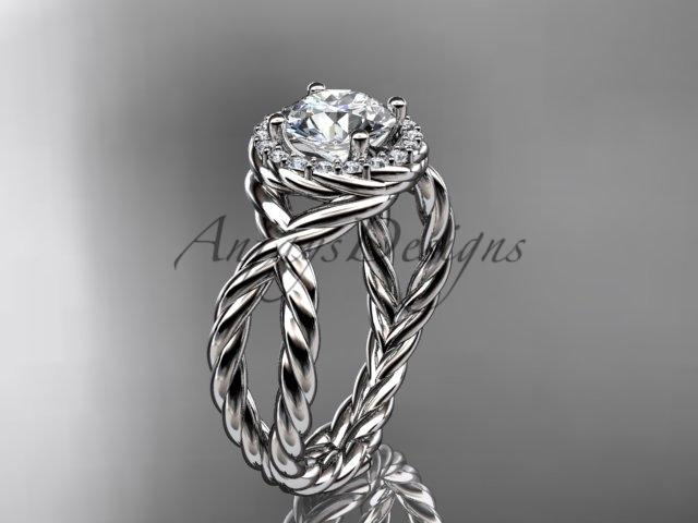 Platinum rope halo diamond engagement ring RP8127