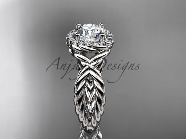 14kt white gold rope halo diamond engagement ring RP8127