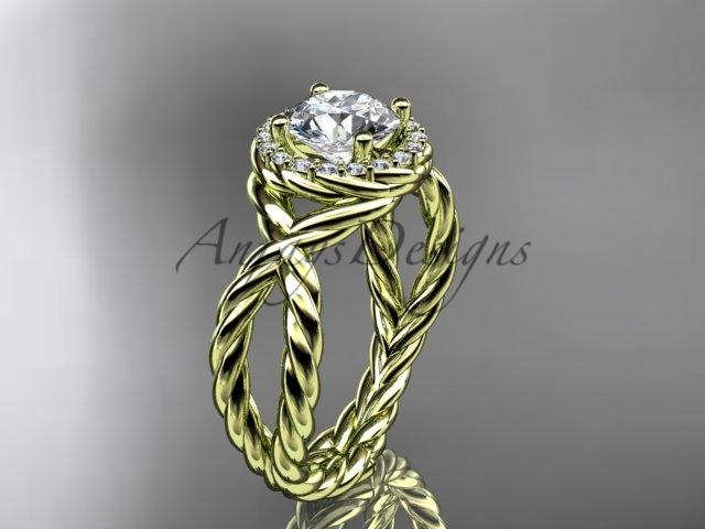 14kt yellow gold rope halo diamond engagement ring RP8127