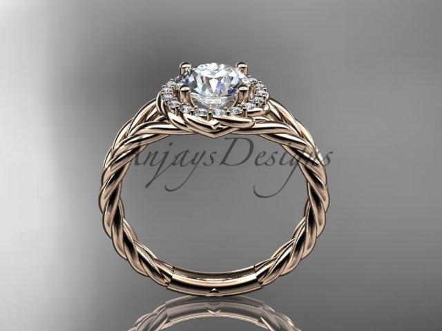 "14kt rose gold rope halo diamond engagement ring with a ""Forever One"" Moissanite center stone RP8131"