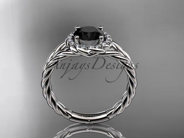 14kt white gold rope halo diamond engagement ring with a Black Diamond center stone RP8131