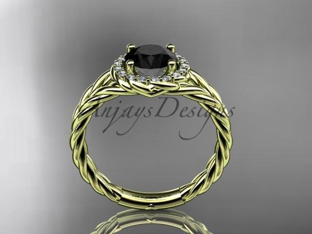 14kt yellow gold rope halo diamond engagement ring with a Black Diamond center stone RP8131