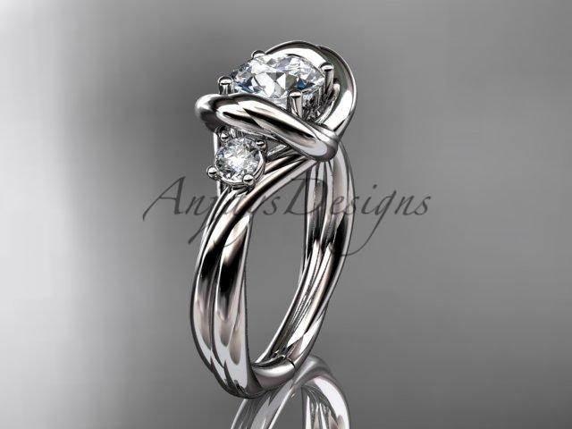 "platinum twisted rope three stone engagement ring with a ""Forever One"" Moissanite RP8146"