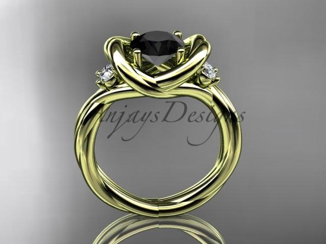 14kt yellow gold twisted rope three stone engagement ring with a Black Diamond RP8146