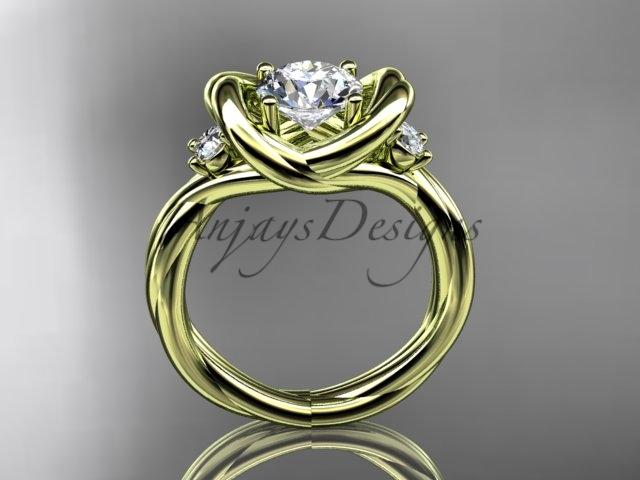 "14kt yellow gold twisted rope three stone engagement ring with a ""Forever One"" Moissanite RP8146"
