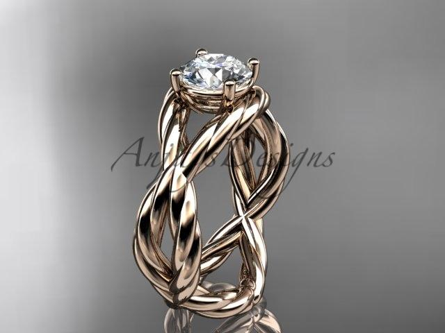 "14kt rose gold ""Forever One"" Moissanite twisted rope engagement ring RP8181"