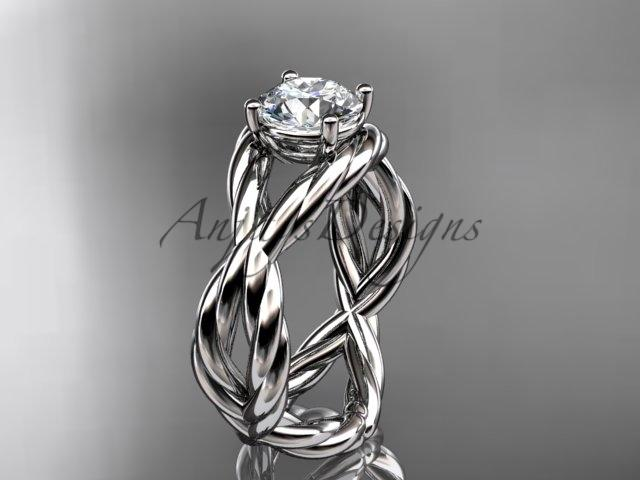 "Platinum ""Forever One"" Moissanite twisted rope engagement ring RP8181"
