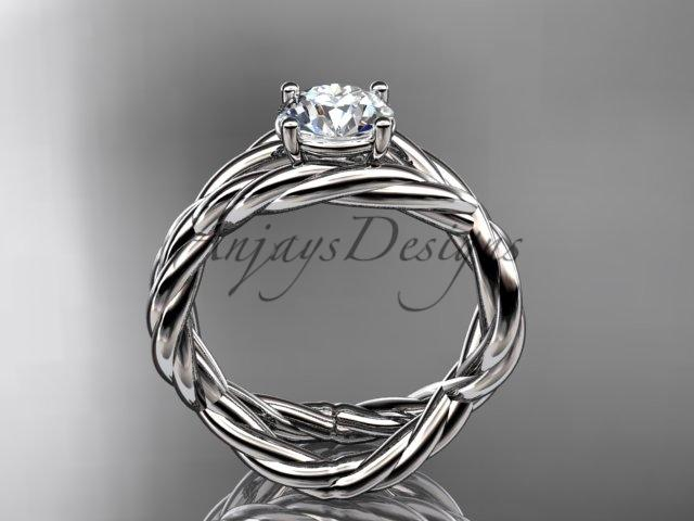 "14kt white gold ""Forever One"" Moissanite twisted rope engagement ring RP8181"