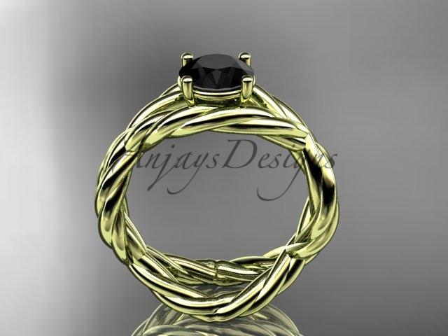 14kt yellow gold Black Diamond twisted rope engagement ring RP8181