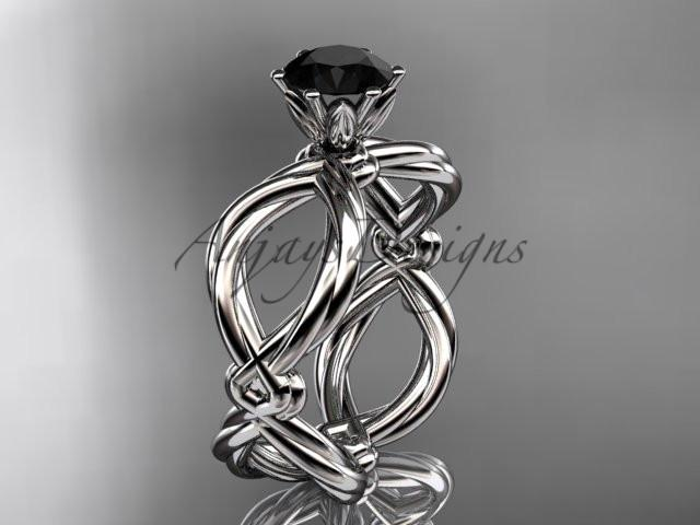 Platinum twisted rope engagement ring with a Black Diamond center stone RP8192