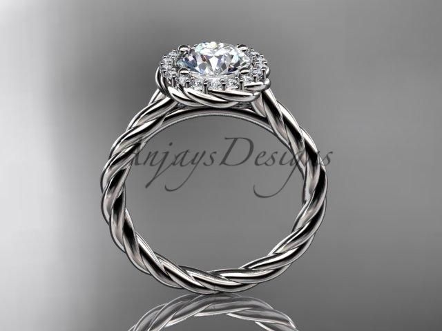 "14kt white gold ""Forever One"" Moissanite rope engagement ring RP8197"